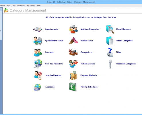 Software For Dentists - Category Management Screen