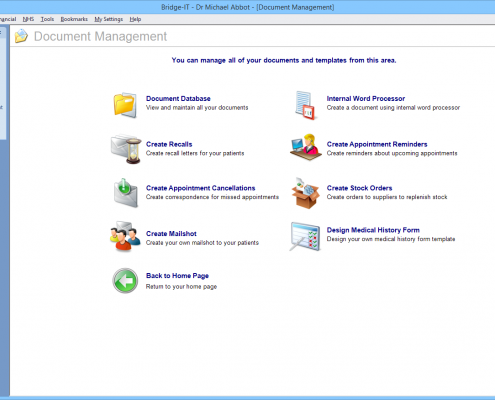 Software For Dentists - Document Management Screen