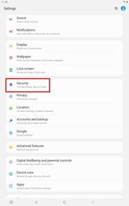 Tablet Settings Security
